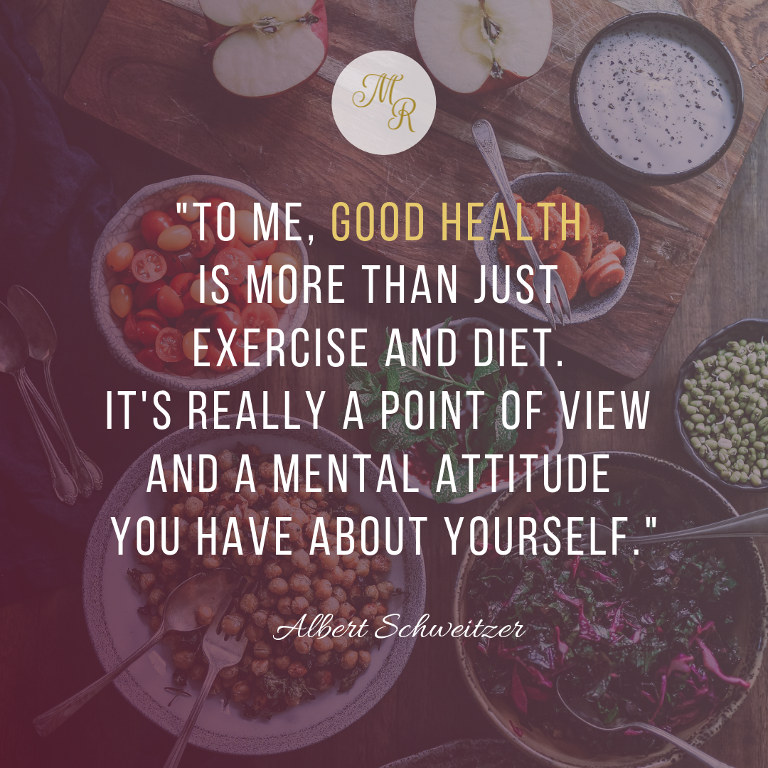 """""""To me, good health is more than just exercise and diet. It's really a point of view and a mental attitude you have about yourself."""""""